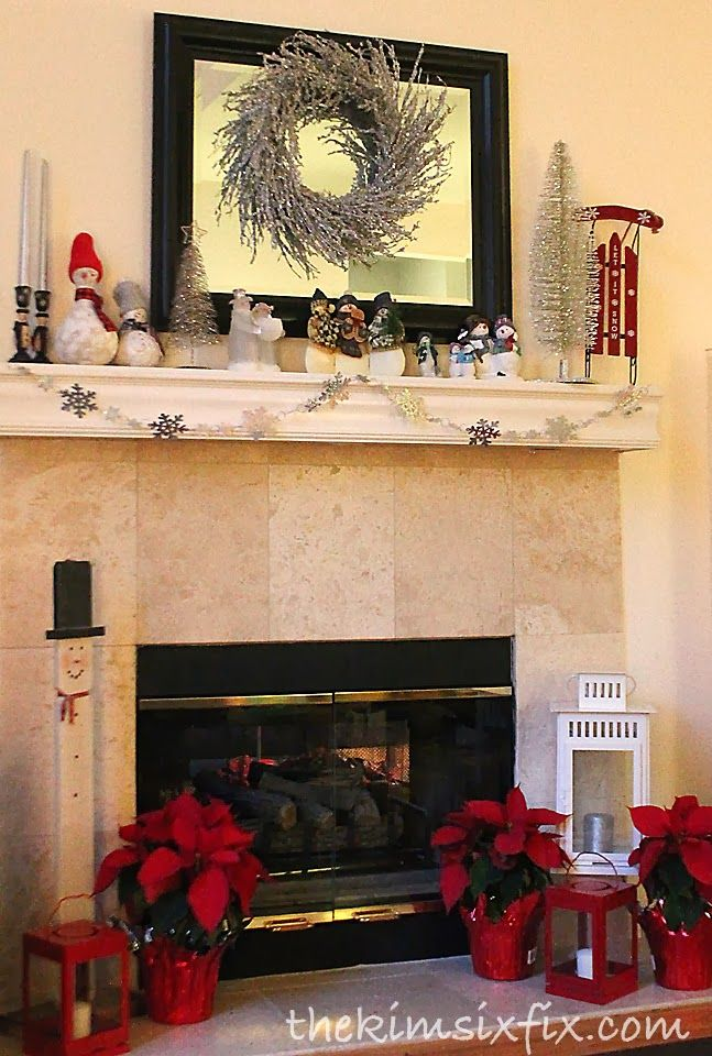 Red and White Winter Snowman Mantle