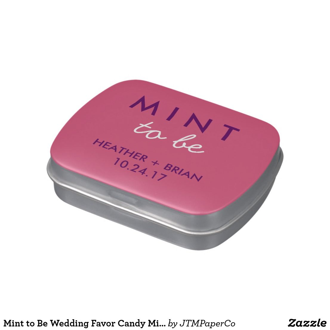 Mint to Be Wedding Favor Candy Mint Tin Plum Blush Jelly Belly Tins ...