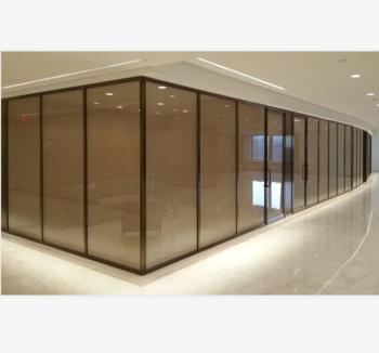 Silver Aluminium Frame Casement Window With Bronze Curtain Wall