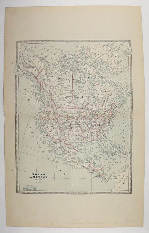 1885 north america map united states canada map mexico central america map caribbean