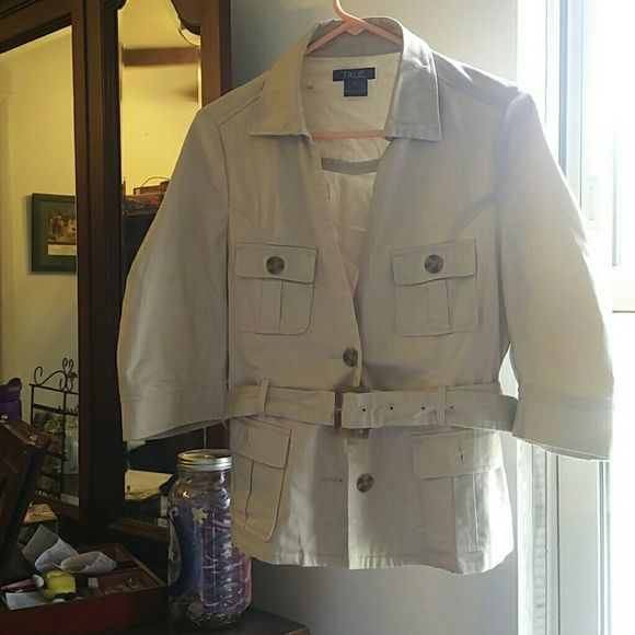 Khaki safari jacket This jacket is lightweight and perfect for spring and summer. Has great details and is in perfect condition. I got it last summer, got to wear it once and now it's too big. Has some.stretch to it! talie Jackets & Coats Utility Jackets