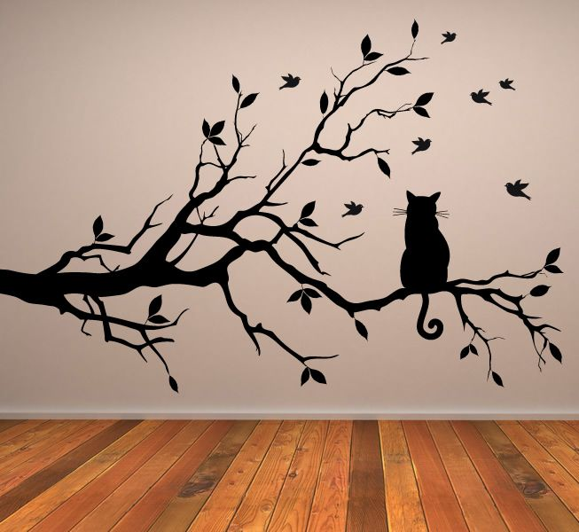 Cat On Long Tree Branch Wall Sticker Animals Cats And Dogs Art Decal  Transfers