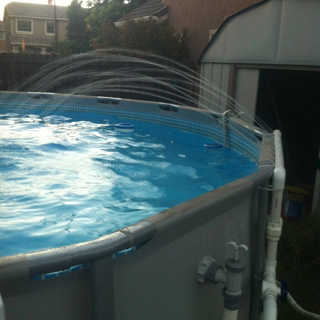 Pvc Waterfall My Hubby And Son Made For Our Pool Pool Shade Outside Pool Pool Patio