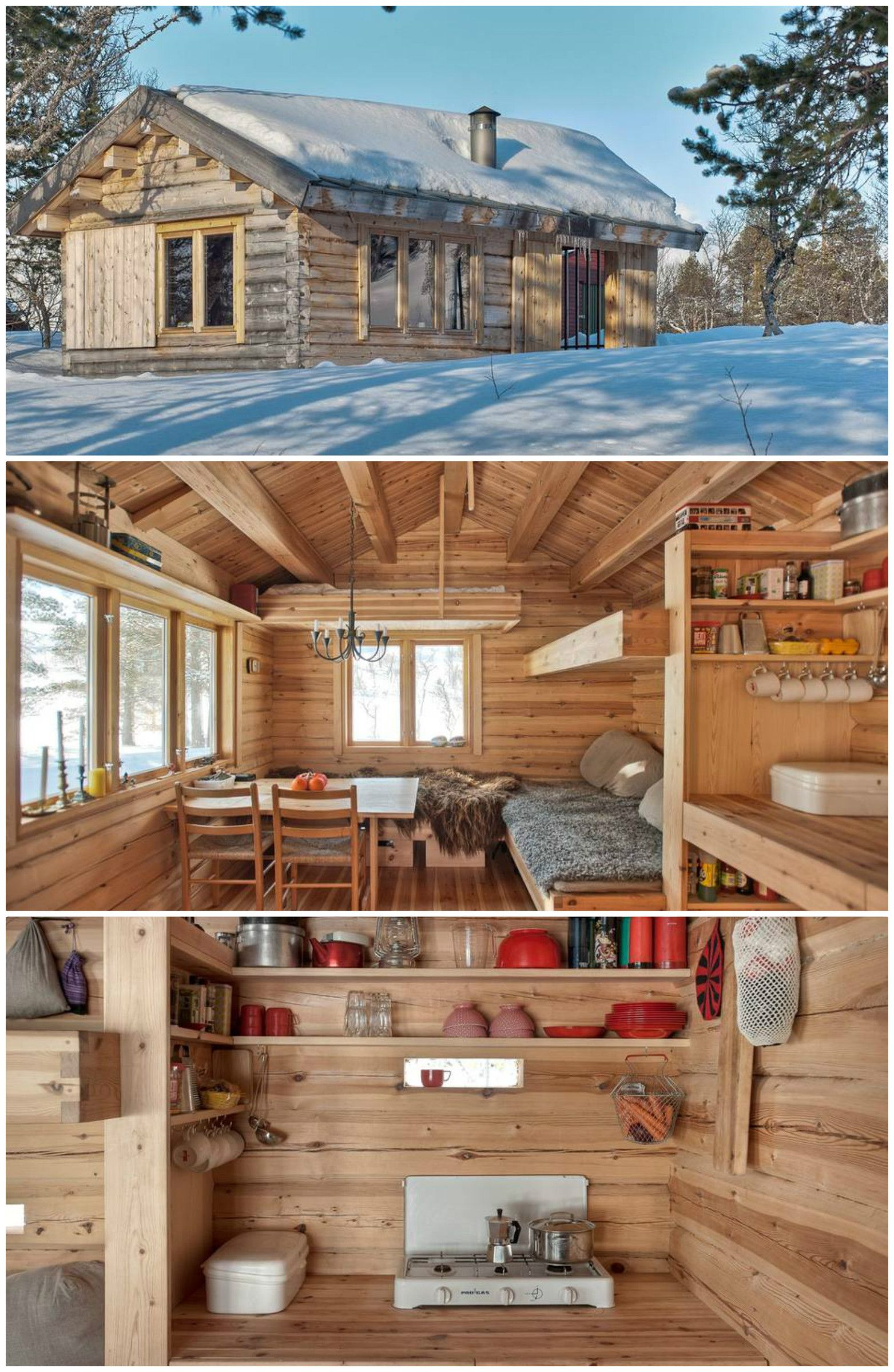 This 118 Ft2 Small Norwegian Ski Cabin Comfortably Accommodates A Family Of Four Living In A Shoebox Tiny Houses Plans With Loft Cabin Tiny House Design