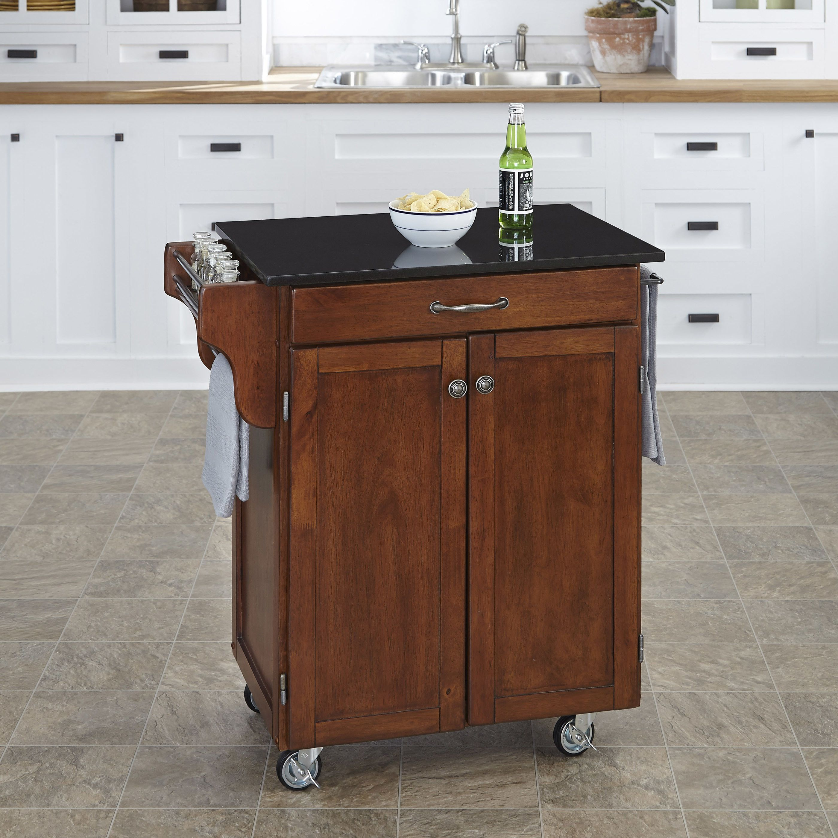 Home styles cuisine kitchen cart with granite top amp reviews