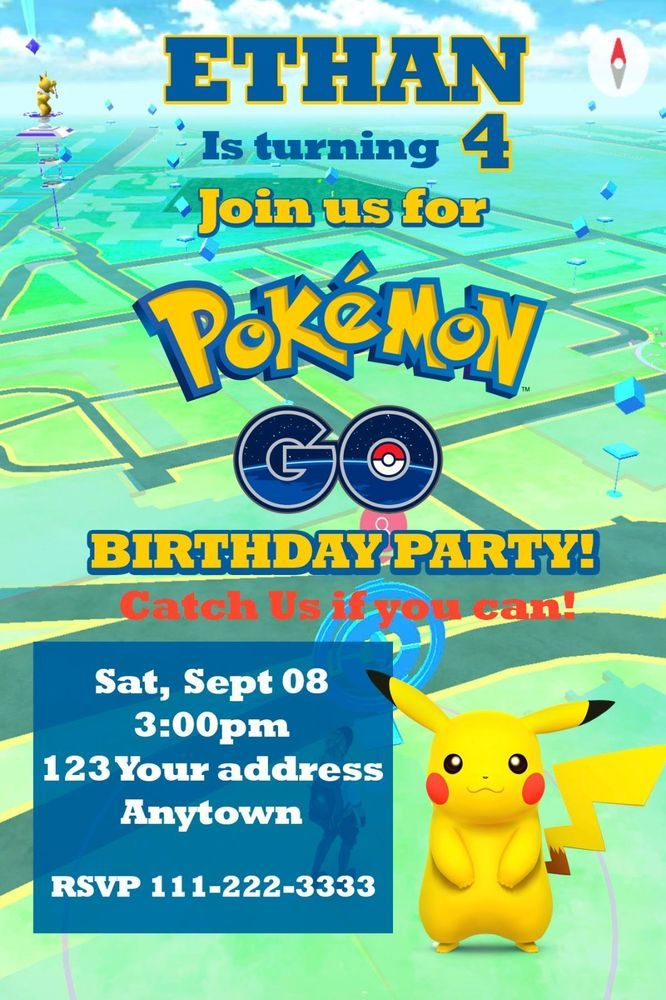 POKEMON GO PIKACHU Birthday party invitations personalized You print ...