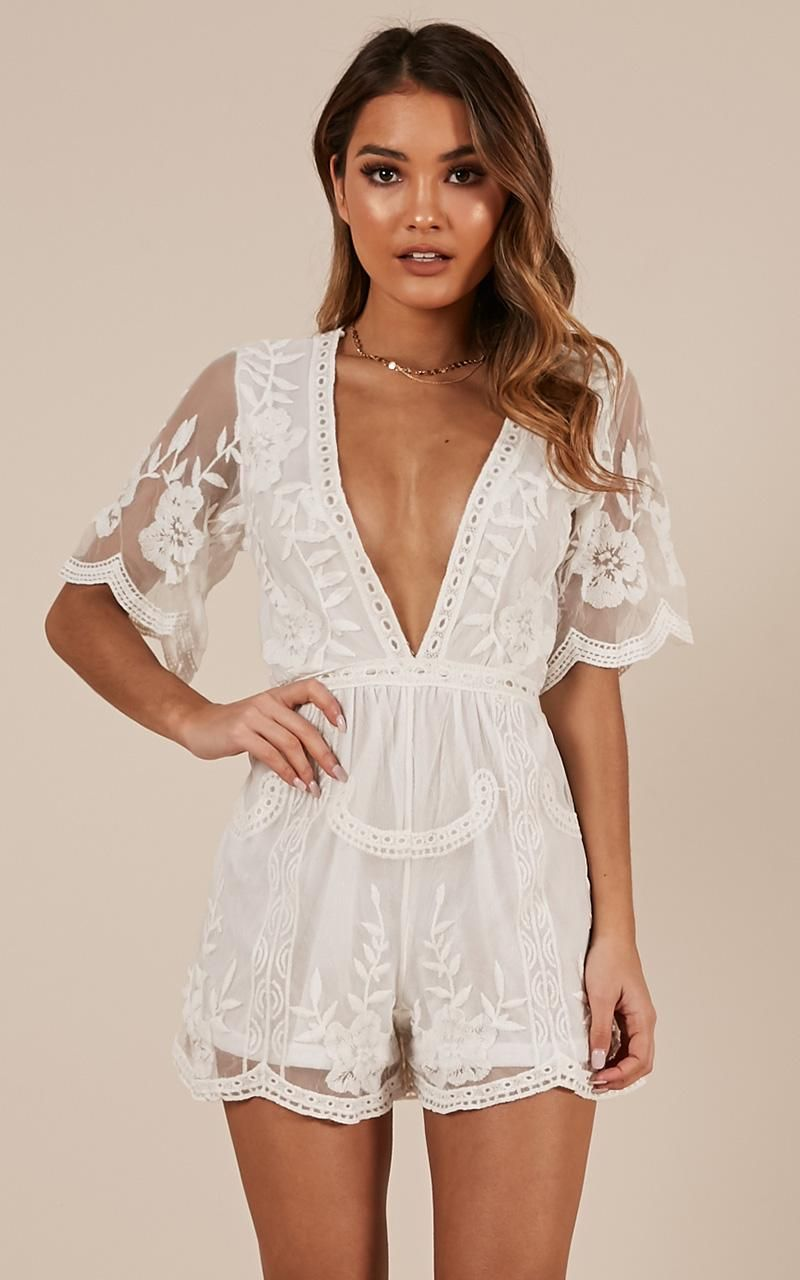 Face The Music Playsuit In White Lace Showpo White Lace Outfit White Lace Romper Lace Outfit [ 1280 x 800 Pixel ]