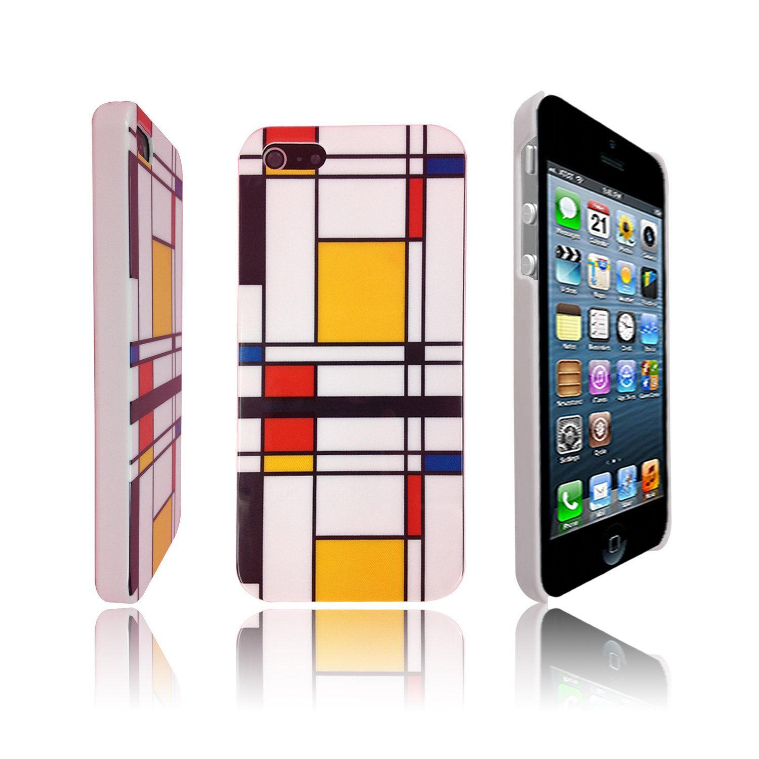 Volutz Painted Geometric Pattern ABS Hard Iphone 5 Case w/ LCD Screen Protector + Volutz Stylus Pen + Volutz Cleaning Cloth