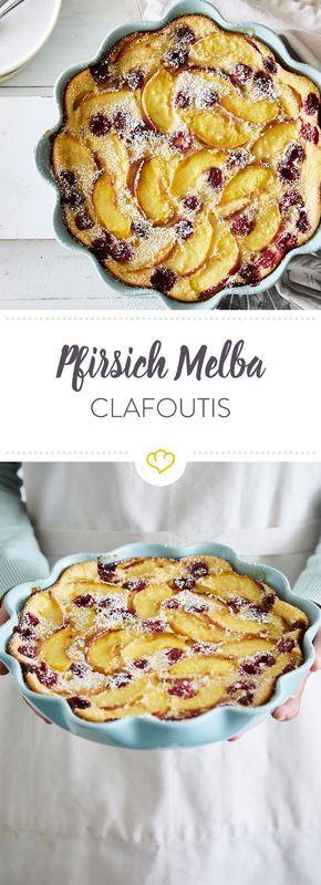 Pancake, Kuchen oder Pudding? Mit diesem fruchtigen Pfirsich-Melba-Clafoutis erfüllt sich jeglicher Süßspeisen-Traum.