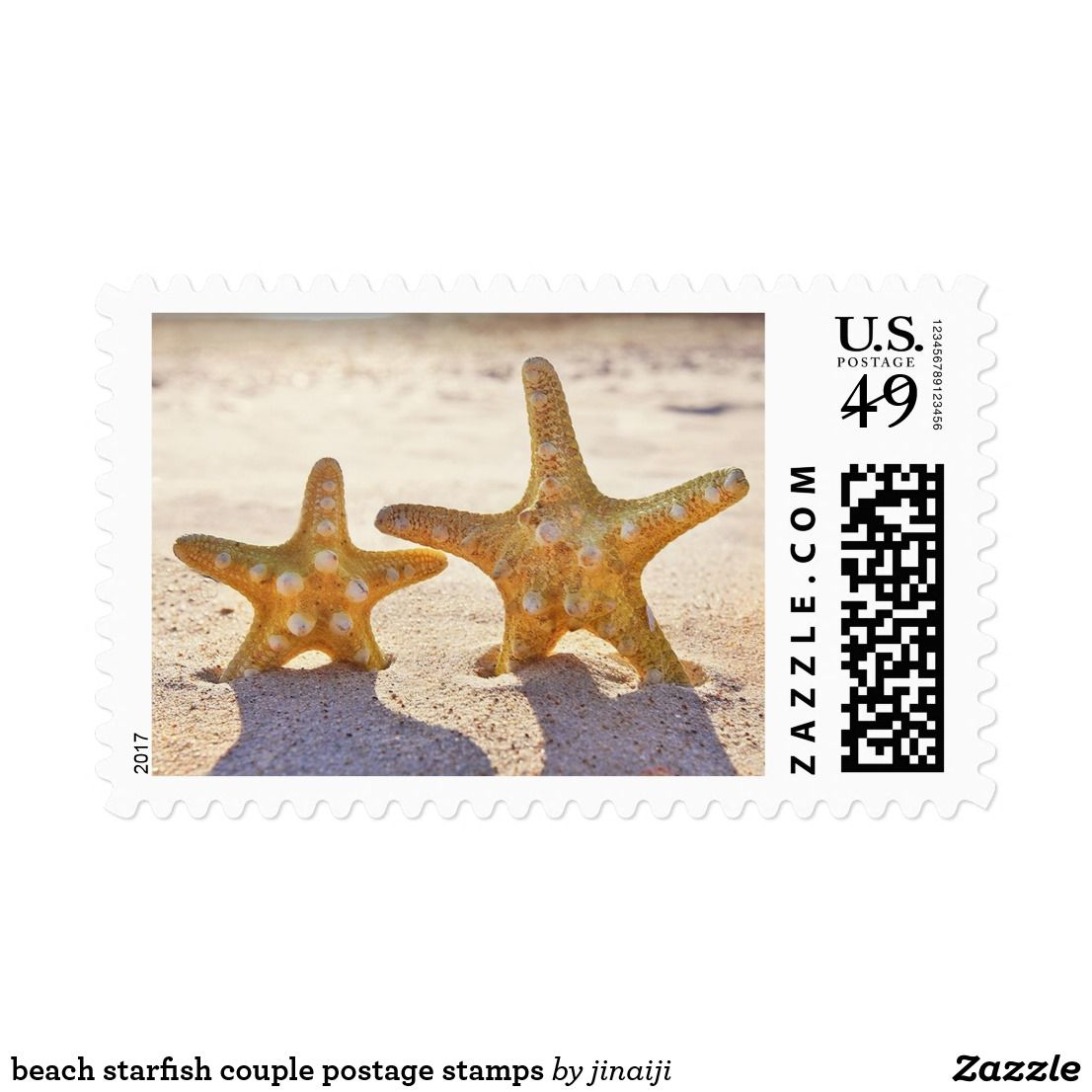 Beach starfish couple postage stamps   Wedding anniversary, Favors ...
