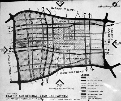 City map showing traffic and land use patterns and downtown layout, May 1958.