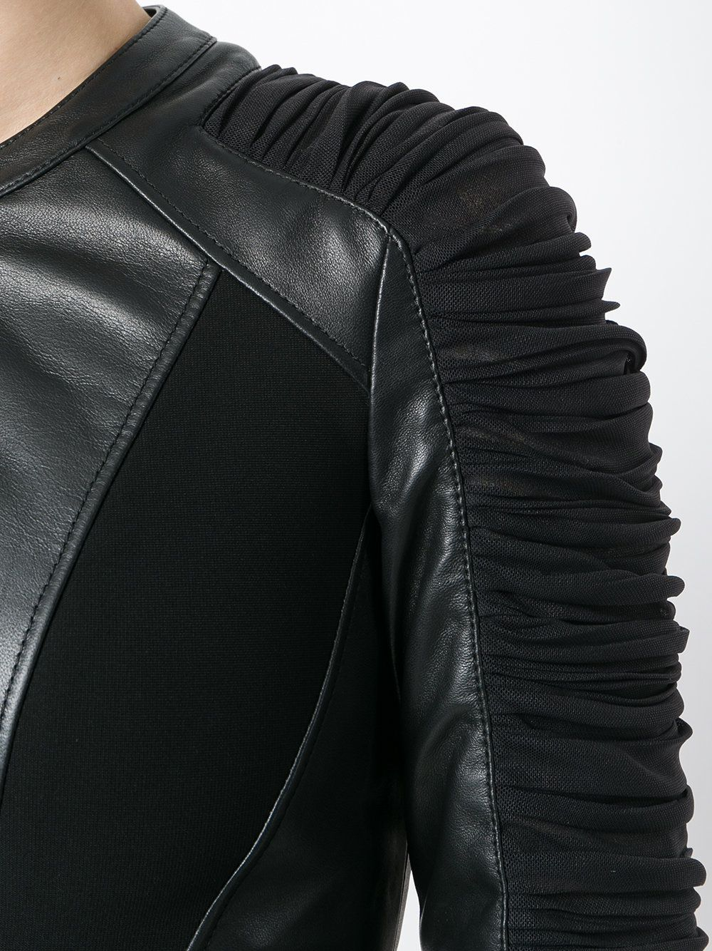 a45b4989fe Versace ruched leather jacket | VERSACE in 2019 | Leather jacket ...