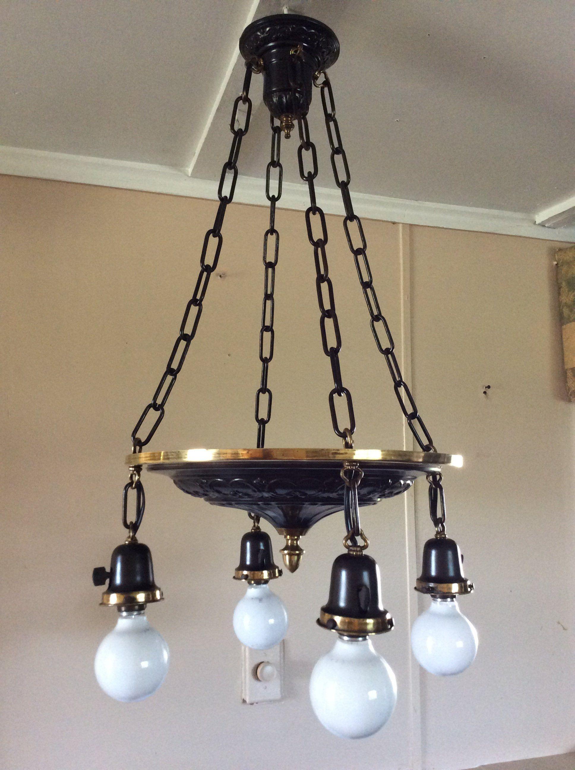 Antique Art Deco Pan Chandelier 4 Chains Br And Bronze