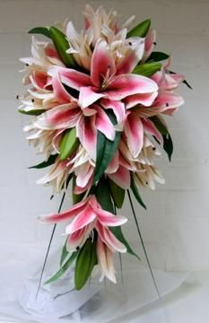 Stargazer Lily Wedding Bouquets Silk Wedding Flowers Pink