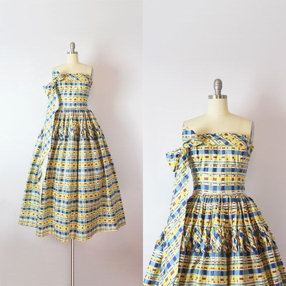 vintage 50s dress / 1950s polished cotton sundress / blue yellow plaid dress / strapless tie neck dress / Charleston Park dress by archetypevintage on Etsy https://www.etsy.com/listing/291315681/vintage-50s-dress-1950s-polished-cotton