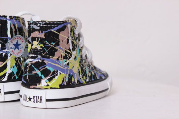 Toddler Black High Top Splatter Painted Converse Sneakers Toddler Size 4, Purple  Camouflage Colors,