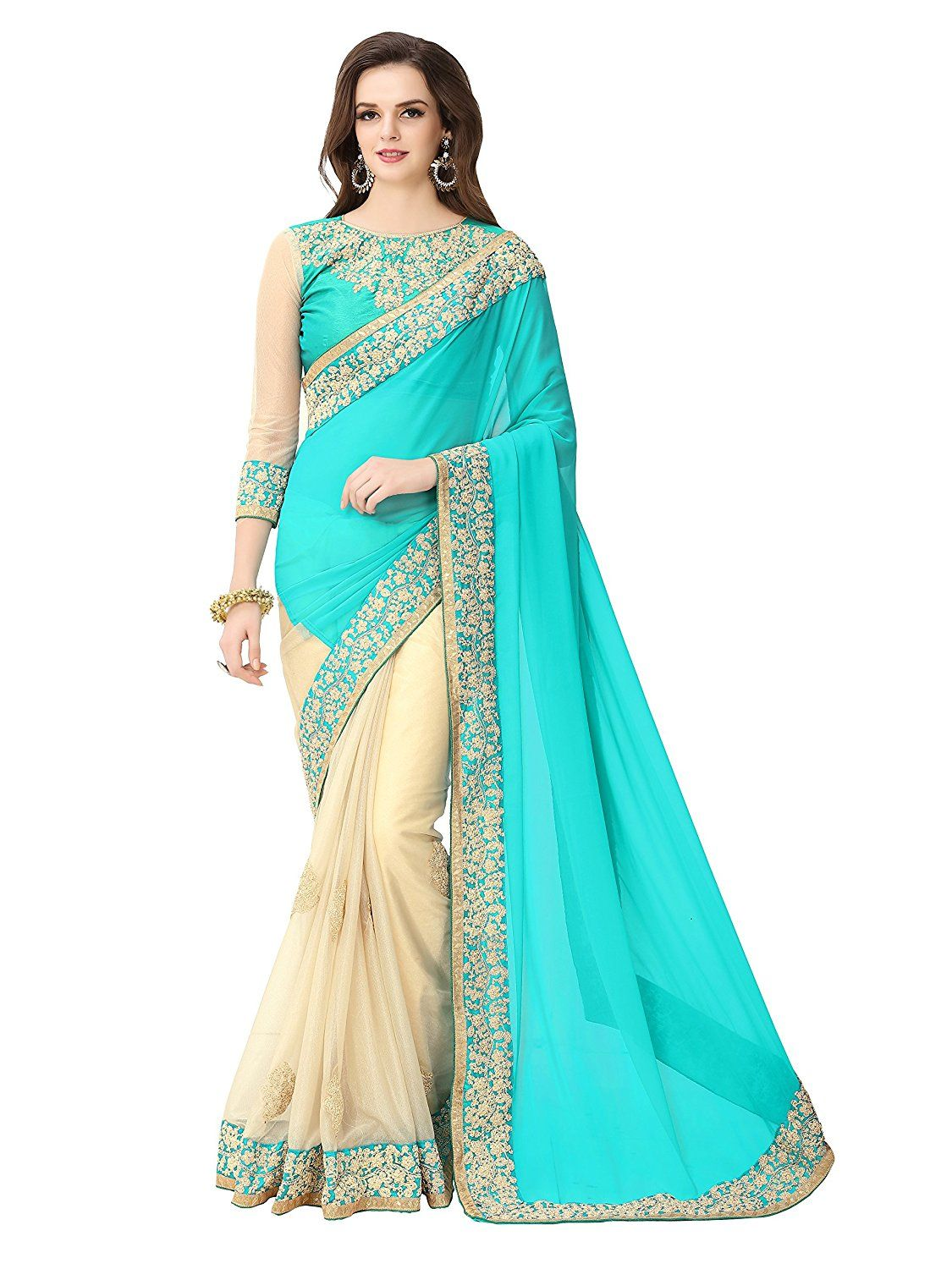 f7368e6c2e102c Glory Sarees Georgette Saree (Sukanya Blue Saree Blue And Beige)  Amazon.in   Clothing   Accessories