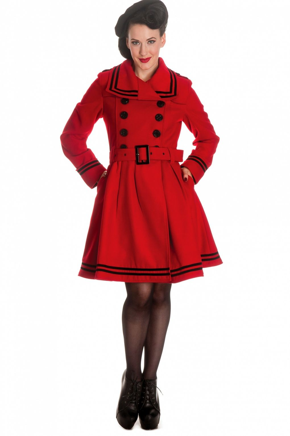 50s Millie Swing Winter Coat in Red | Nähen