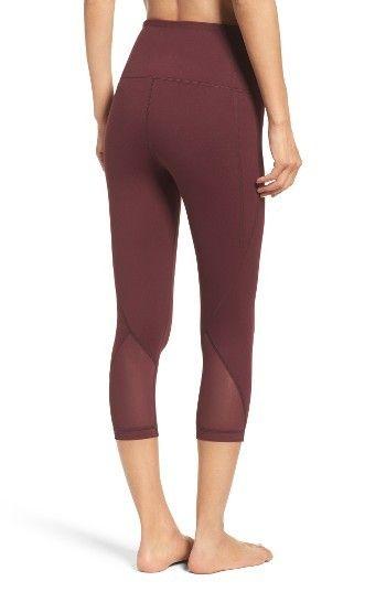 9da3c41d0ba79a Zella Hatha High Waist Crop Leggings - Burgundy Breezy mesh panels  ventilate snug leggings designed with a flattering high waistband and  cropped ankles.