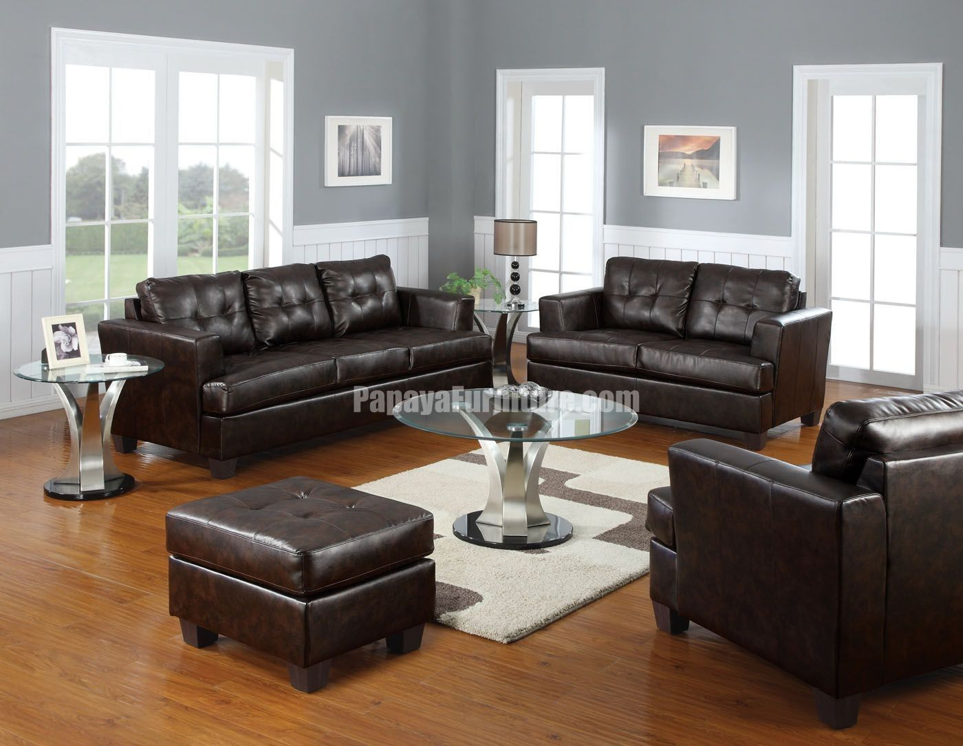brown color leather sofa natural wood tray table dark couch decorating ideas