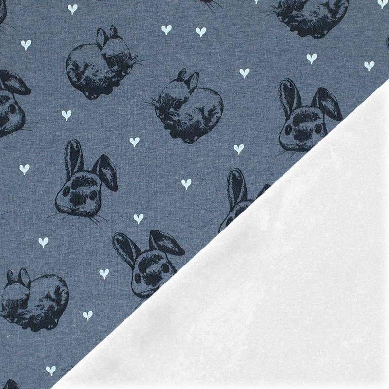 Alpenfleece Sweatshirt Kaninchen Mit Herz Jeans Meliert Kinder Stoffe Stoff Online Stoffe