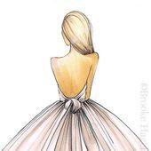 Bridal Fashion Illustration-Bridal Sketch-Bride Fashion Sketch-Bride Illustratio...