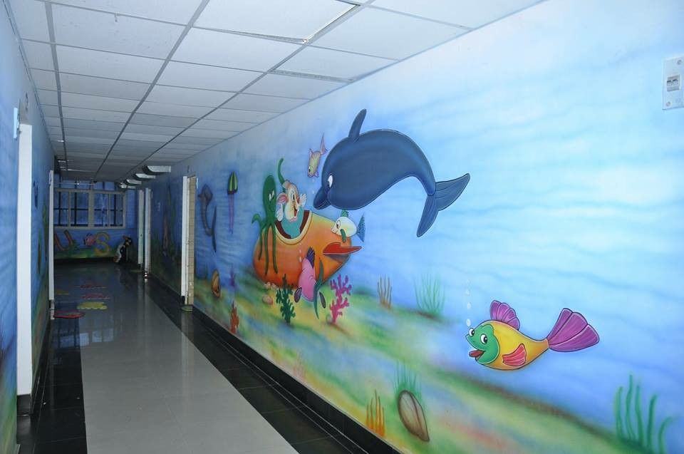 School corridor wall painting playschool wall painting ideas
