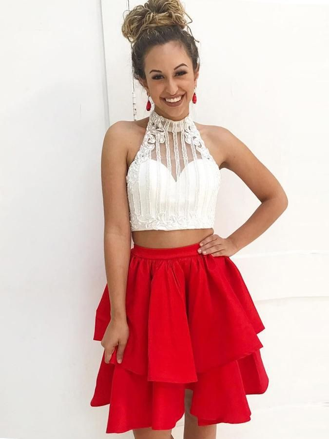 Sparkly Two Piece Homecoming Dresses White And Black Short Prom