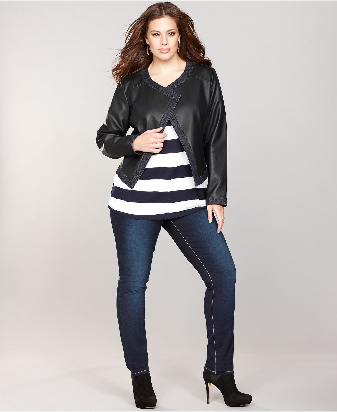 INC Plus Size Faux-Leather Jacket, Striped Top & Skinny Faded Jeans