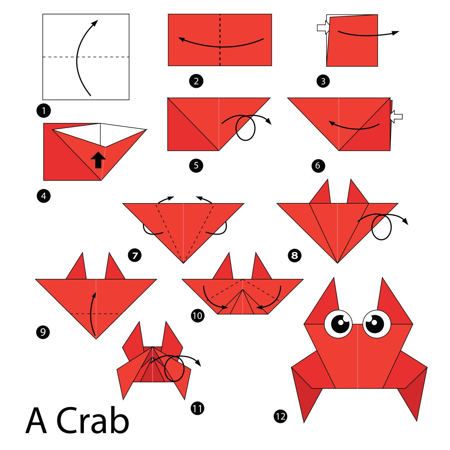 simple origami instructions � how to fold a crab origami