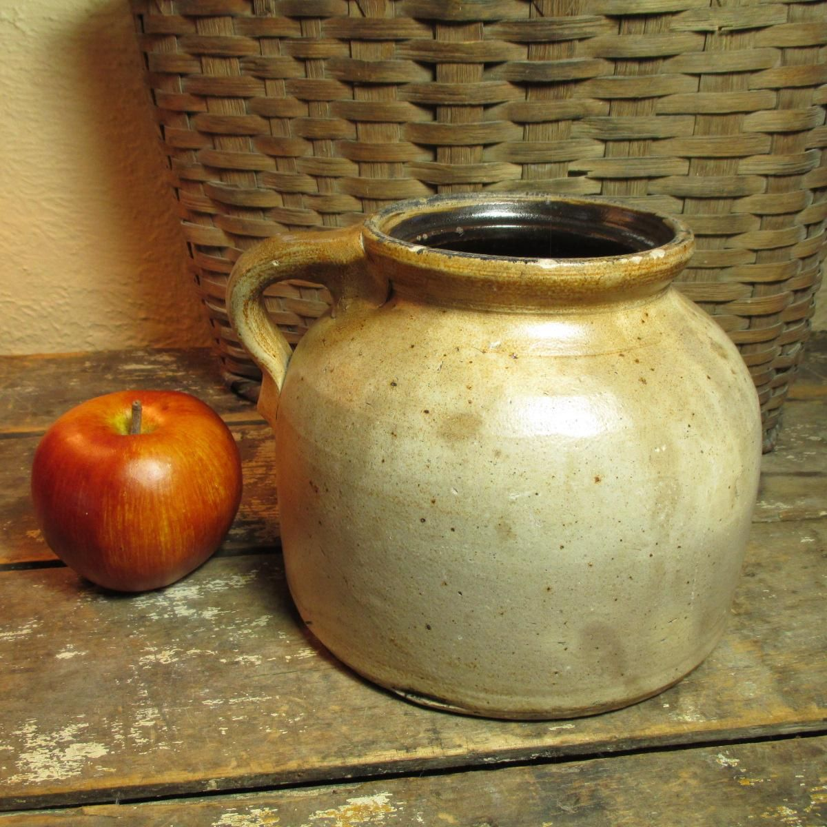 Early Old Primitive Farmhouse Kitchen Squatty Salt Glaze Stoneware Jug #HannahsHouseAntiques #Primitives http://www.rubylane.com/item/497177-9448/Early-Primitive-Farmhouse-Kitchen-Squatty-Salt