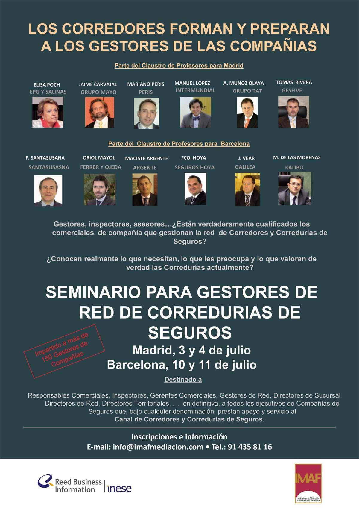 Seminario para Gestores de Red y Corredurías de Seguros - Madrid y Barcelona con el IMAF.