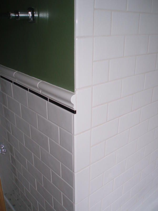 Subway Tile With Chair Rail And Vertical Bullnose In 2020 Tiles Shower Remodel Vintage Bathrooms
