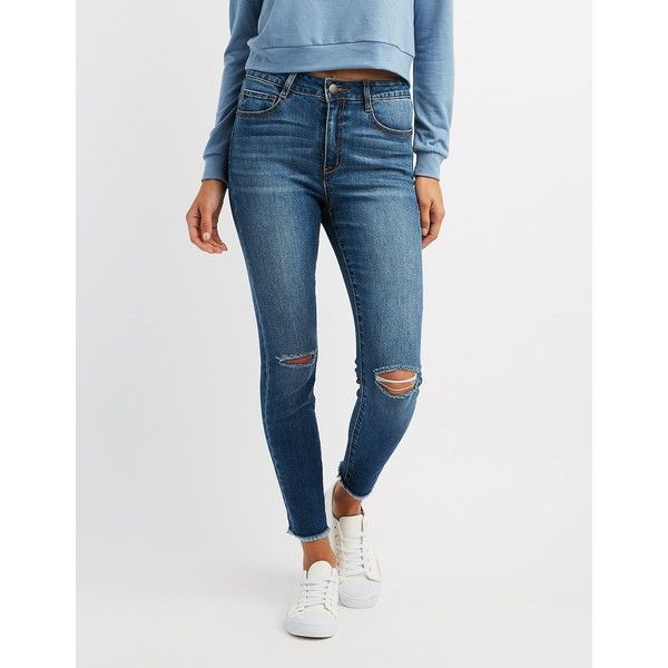 Refuge Destroyed Hi-Rise Skinny Jeans ($24) ❤ liked on Polyvore featuring jeans, indigo, ripped denim jeans, denim skinny jeans, super high-waisted skinny jeans, high rise skinny jeans and skinny jeans