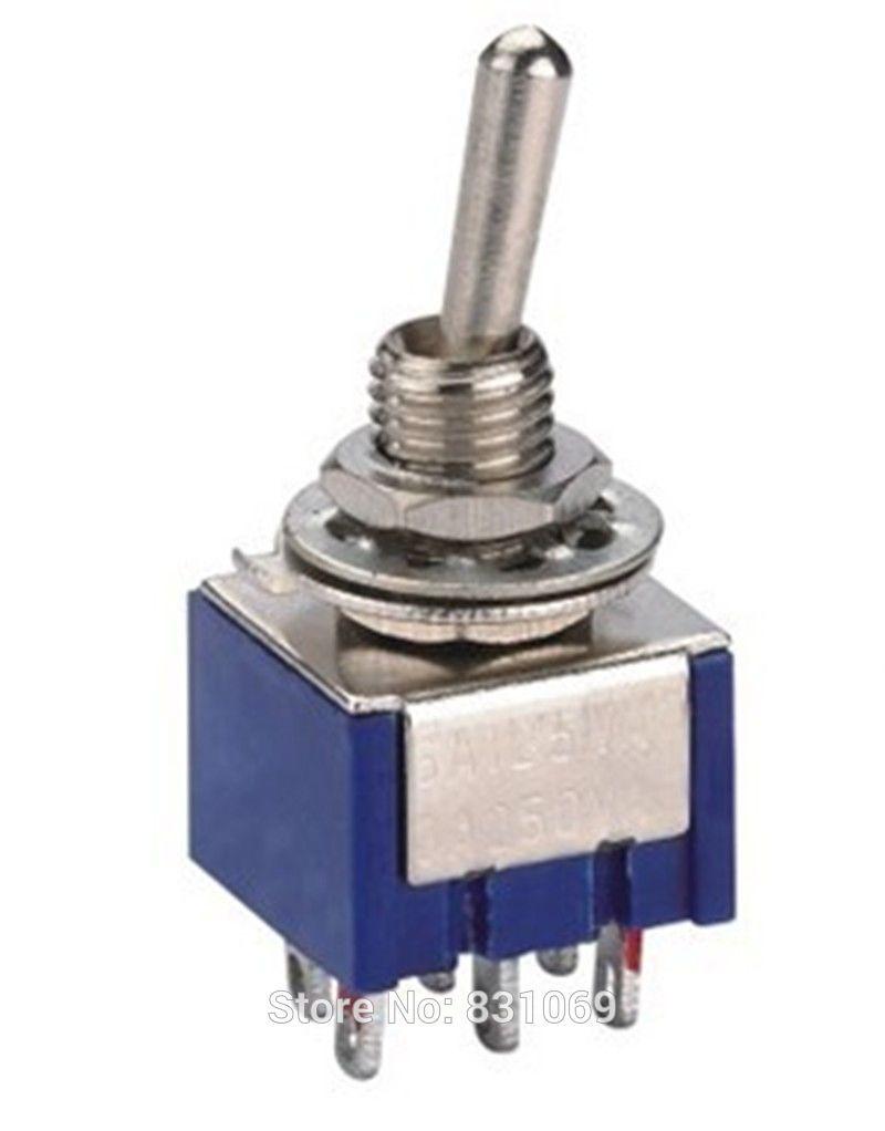 10pcs Lot Mts 202 6 Pin Dpdt On Mini Toggle Switch 6a 125vac Cctv Din Wiring Diagram