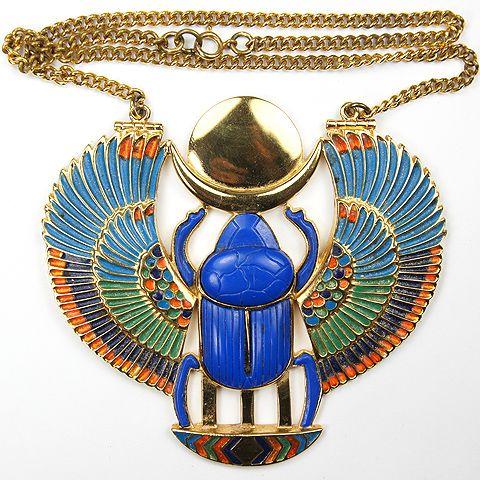 Thomas fattorini ltd giant gold lapis and enamel egyptian revival thomas fattorini ltd giant gold lapis and enamel egyptian revival scarab pendant necklace aloadofball Choice Image