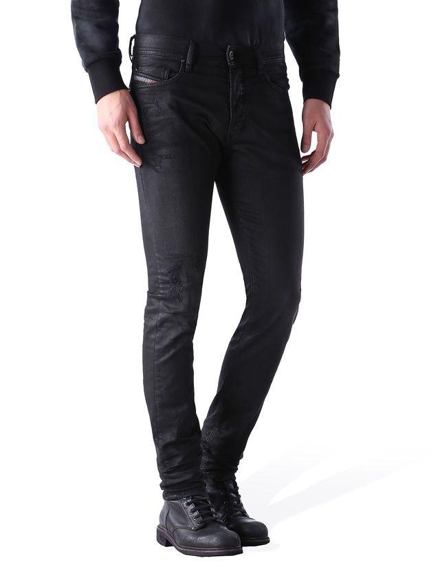 9c596cb6 Diesel TEPPHAR 0671E Carrot Fit Regular Waist #Coated Stretch Jeans in Black  from the Diesel Online Store #DieselOnlineStore #CoatedJeans #TEPPHAR0671E