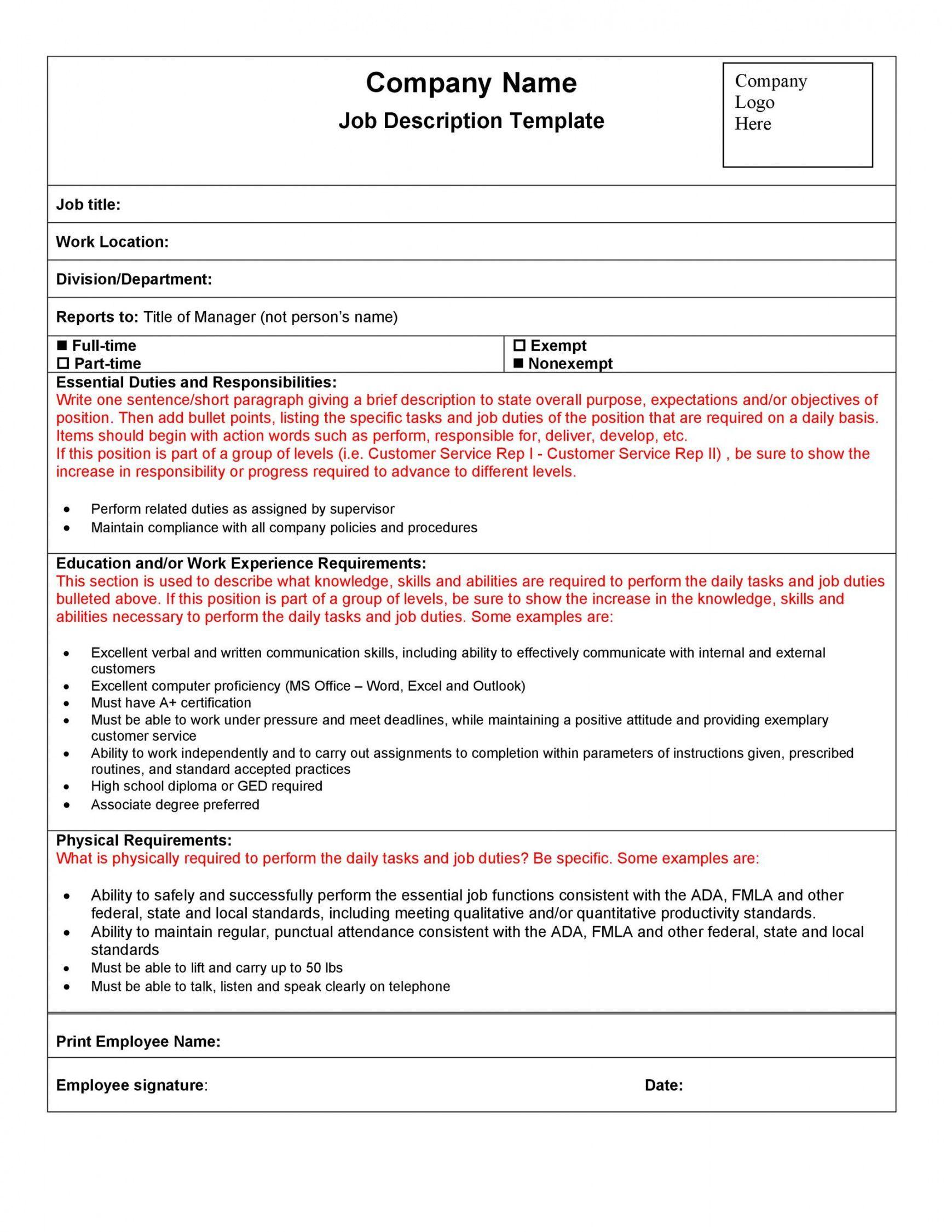 Explore Our Image Of Generic Job Description Template Job Description Template Job Description Word Template