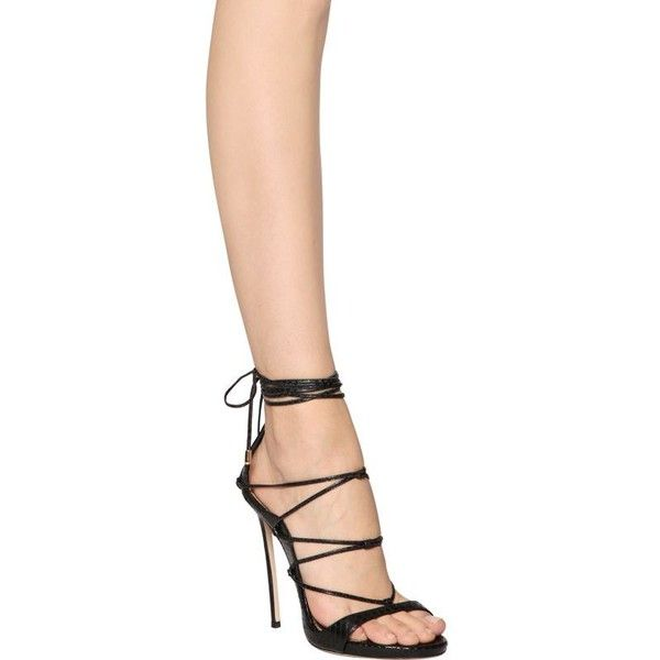 b69eeb4fb Dsquared2 Women 120mm Elaphe Snakeskin Lace-up Sandals ( 970) ❤ liked on  Polyvore featuring shoes