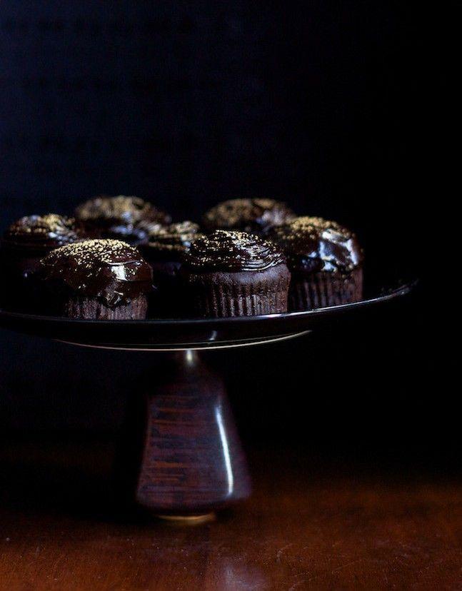 Jasmine tea dark chocolate cupcakes with Edible Gold Leaf