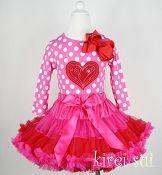 Girls KS Hot Pink Red Mixed Pettiskirt Plus Hot Pink Polka Dots Long Sleeves Top
