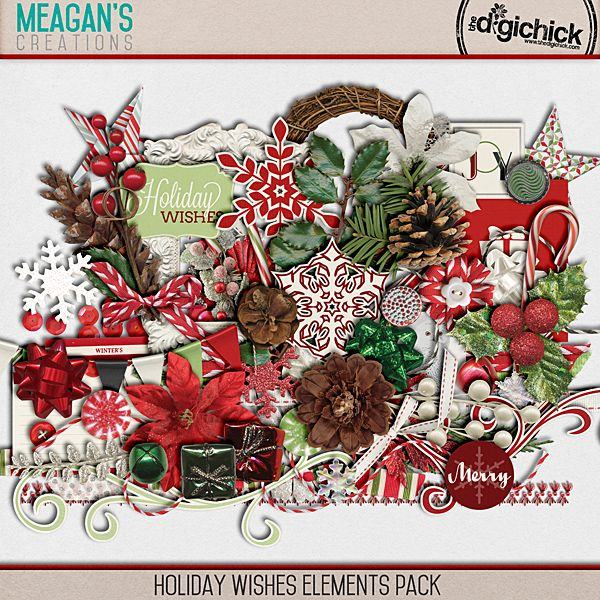 Holiday Wishes Elements Pack by Meagan's Creations