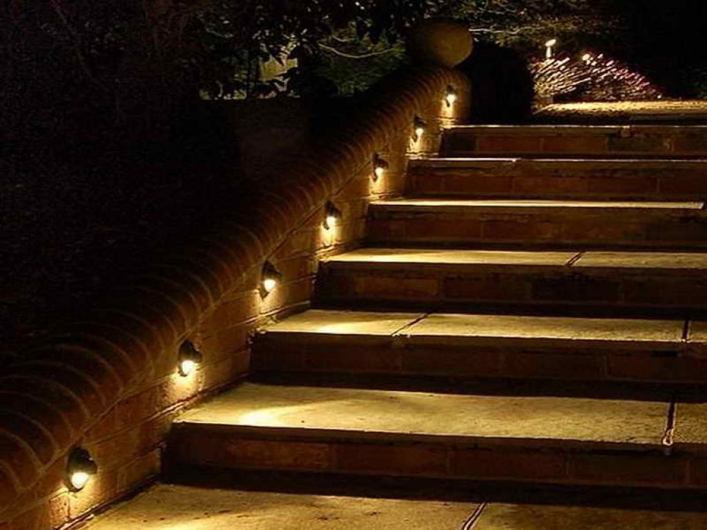 stair step lighting. Outdoor , Enlighten Your Outing Space With Deck Lighting Ideas : Classic Step Lights For Walking Guide Stair U