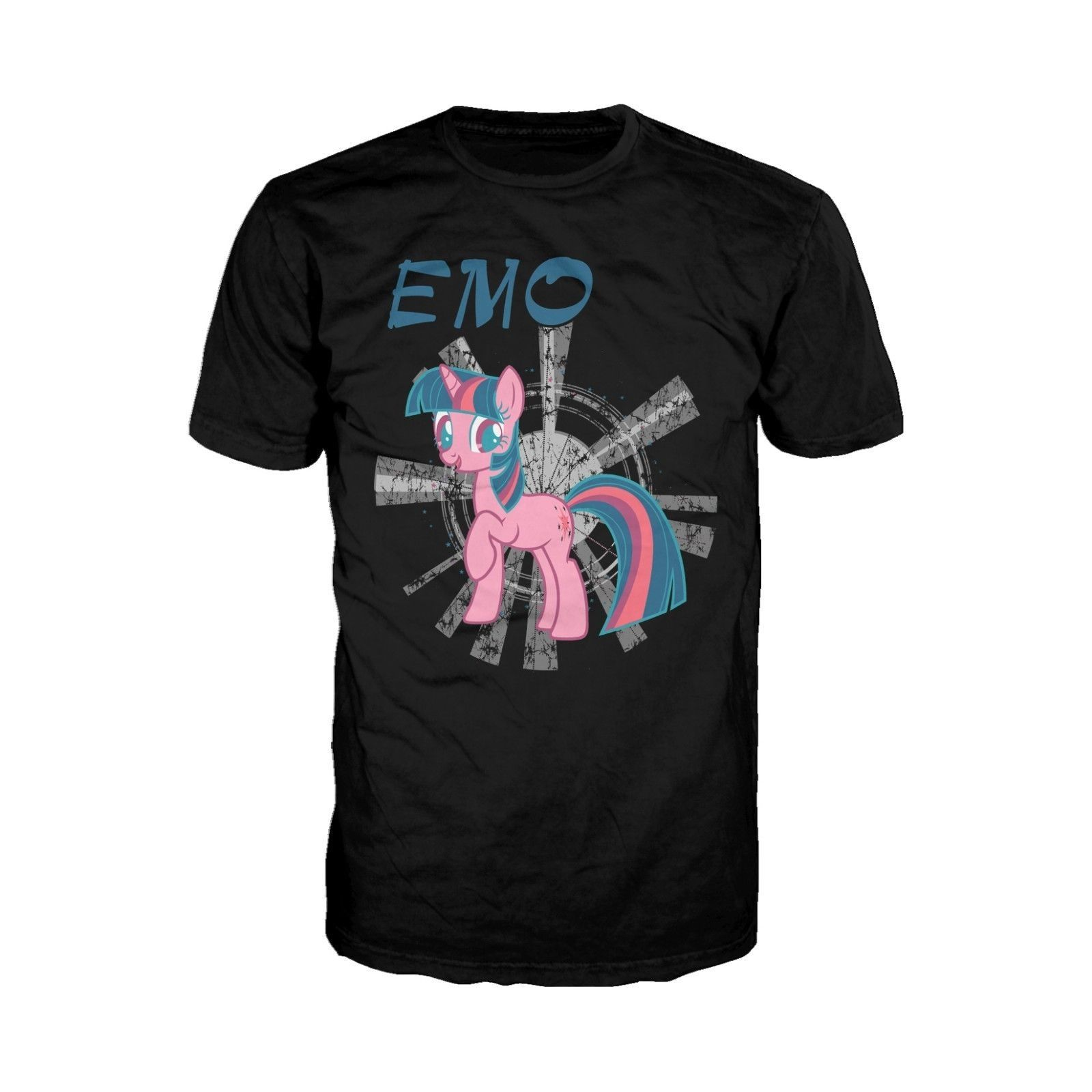 32390ddaab4b6 Summer Style T Shirt Short Men My Little Pony EMO 02 Official Adults Black Print  T