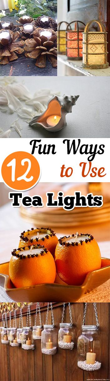 Fun Ways to use tea lights- great ways to create lanterns or lights. Great projects, ideas and tutorials.