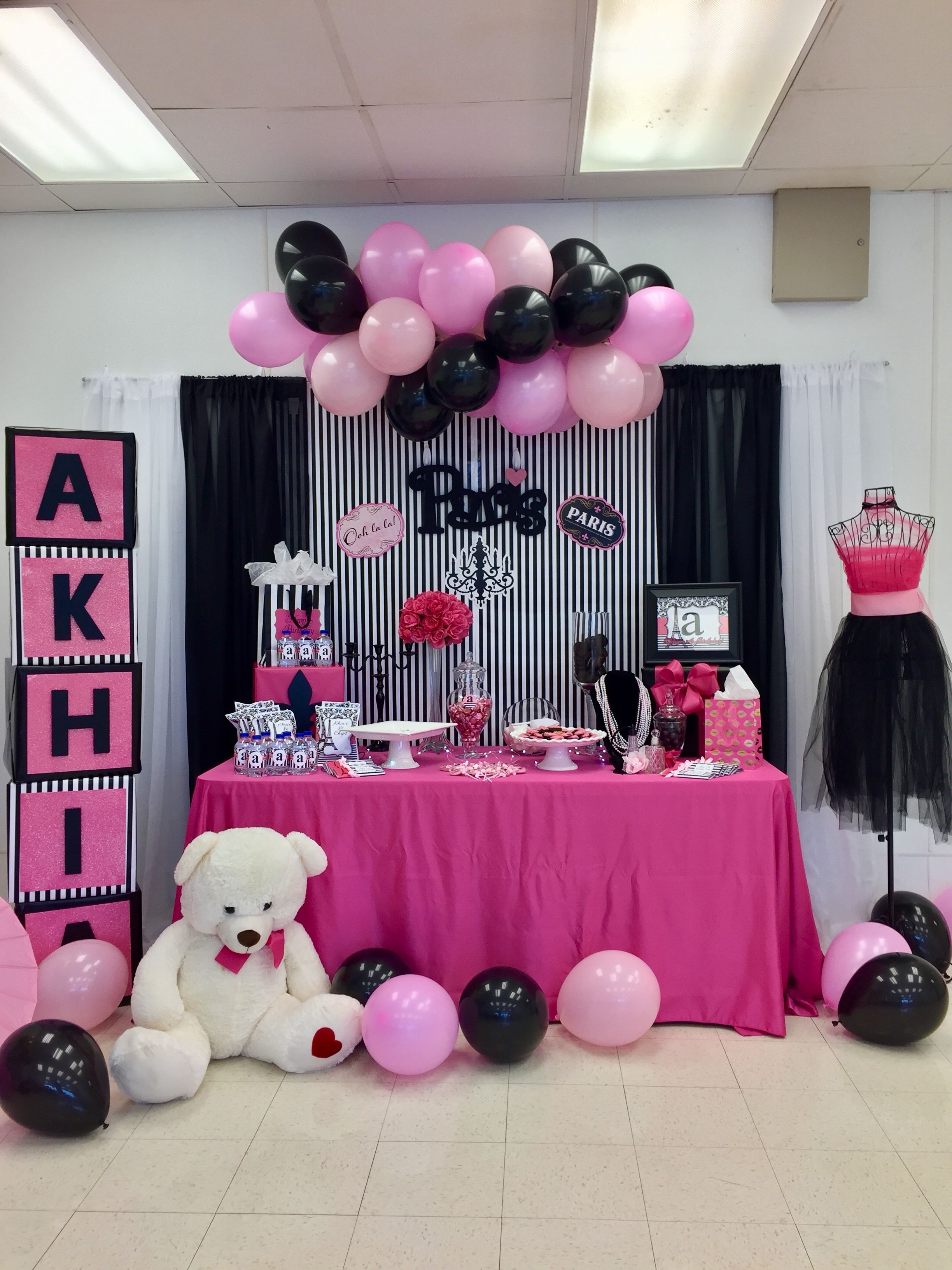 Birthday Party Pink Black Paris Birthday Party Ideas In 2019