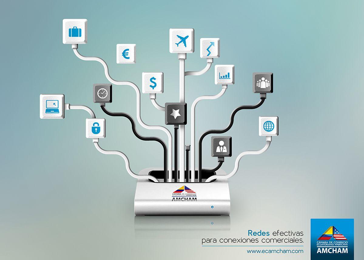 Pieza gráfica que se enfoca en otra de las áreas de la institución, de donde destaca las conexiones que brinda para tener acceso a una red comercial en donde dar a conocer una oportunidad de negocio.