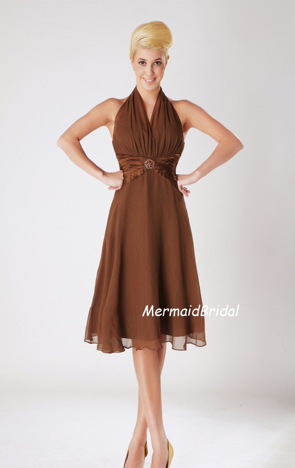 Brown prom dress kneelength simple prom dress party dress