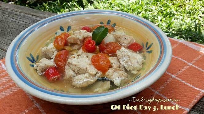 Resep Menu Diet Gm Hari Ke 5 Ayam Kukus Tomat Ala Indi Makan Siang M Oleh Indry Hapsari Resep Makan Siang Makanan Diet