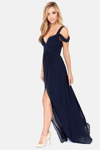 Bariano Ocean of Elegance Navy Blue Maxi Dress